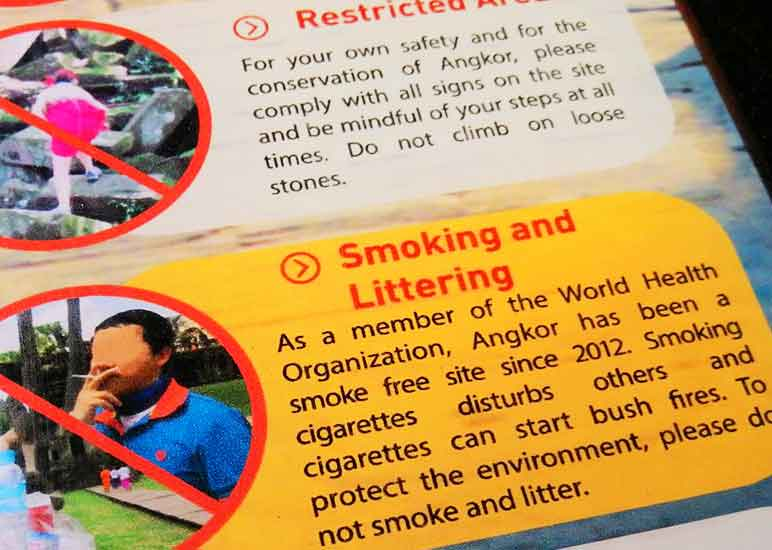 Angkor Wat, Code of Conduct. Prohibited Areas.Smoking and Littering
