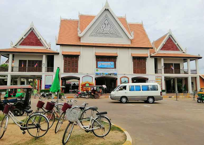 How do you get around Angkor Wat Site? Angkor Wat Entrance Fee and ticket. Bicycles outside ticket center. Angkor Wat.
